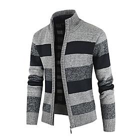 Men's Color Block Cardigan Long Sleeve Sweater Cardigans Stand Collar Winter Black Blue Light gray