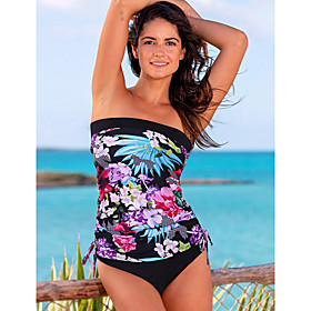 Women's Sexy Off Shoulder Tankini Swimsuit Print Floral Print Strapless Swimwear Bathing Suits White Black Blue / Padded Bras