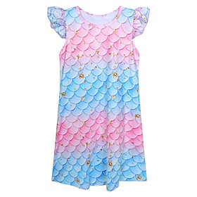 Kids Girls' Basic Cute Rainbow Print Short Sleeve Above Knee Dress Rainbow