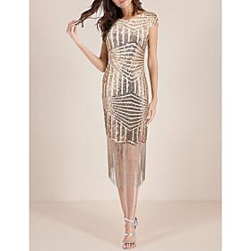 Women's A-Line Dress Midi Dress - Short Sleeve Solid Color Backless Tassel Fringe Summer Sexy Party Club 2020 Black Blue Gold S M L XL XXL