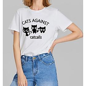 Women's T-shirt Graphic Prints Letter Print Round Neck Tops Slim 100% Cotton Basic Basic Top White Black Red