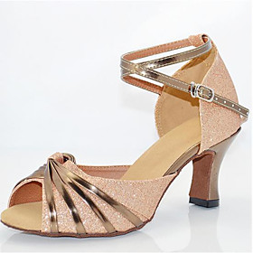 Women's Latin Shoes Heel Flared Heel PU Leather Buckle Paillette Gold