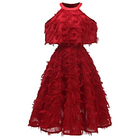 Women's A-Line Dress Knee Length Dress - Sleeveless Solid Color Tassel Fringe Summer Halter Neck Casual Party Slim 2020 White Blushing Pink Wine S M L XL XXL