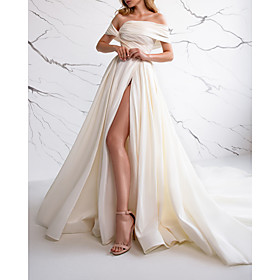A-Line Wedding Dresses Off Shoulder Sweep / Brush Train Satin Sleeveless Simple with Ruched Split Front 2020
