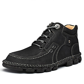 Men's Boots Casual Daily Outdoor Walking Shoes Leather Wear Proof Booties / Ankle Boots Light Yellow / Black / Dark Green Fall / Winter