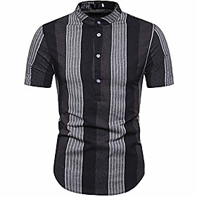 butamp;amp; #39;s classic slim fit striped henley shirts short sleeve stand collar top shirt black x-large