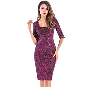 Women's A-Line Dress Knee Length Dress - Half Sleeve Solid Color Lace Zipper Print Summer Sexy Party Club Slim 2020 Purple Red S M L XL XXL 3XL 4XL