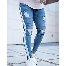 Men's Basic Streetwear Jogger Pants Solid Colored Blue Light Blue S M L