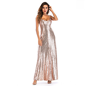 Women's A-Line Dress Maxi long Dress - Sleeveless Solid Color Backless Sequins Embroidered Summer V Neck Sexy Party Club 2020 Gold S M L XL XXL