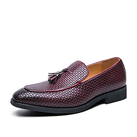 Men's Loafers  Slip-Ons Business / Classic / Casual Daily Office  Career PU Breathable Non-slipping Wear Proof Black / Red / Brown Spring / Fall / Tassel / Tas