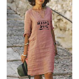 Women's A-Line Dress Knee Length Dress - Half Sleeve Letter Print Summer V Neck Casual Loose 2020 Red Yellow Blushing Pink Light Green Light Blue S M L XL XXL