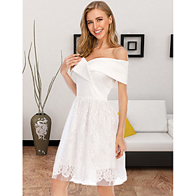 Women's A-Line Dress Knee Length Dress - Sleeveless Solid Color Lace Summer Off Shoulder Sexy Party Club Slim 2020 White S M L XL