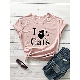 Women's T-shirt Heart Graphic Prints Letter Print Round Neck Tops Slim 100% Cotton Basic Basic Top White Yellow Blushing Pink