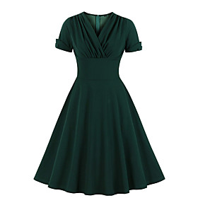 Women's Swing Dress Knee Length Dress - Short Sleeve Solid Color Print Winter V Neck Vintage Slim 2020 Wine Green S M L XL XXL 3XL 4XL