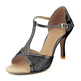 Women's Latin Shoes Sandal Customized Heel Sparkling Glitter Paillette Leatherette Buckle Black / Red / Silver / EU39
