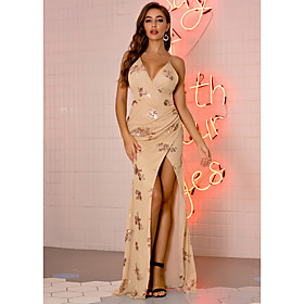 Women's A-Line Dress Maxi long Dress - Sleeveless Floral Embroidered Split Patchwork Summer V Neck Sexy Party Club Slim 2020 Black Gold Green S M L XL
