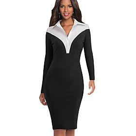 Women's A-Line Dress Knee Length Dress - Long Sleeve Solid Color Patchwork Zipper Fall Winter Shirt Collar Elegant Party Slim 2020 Black Blue S M L