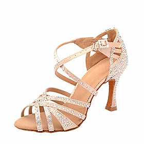 women rhinestone satin ballroom dance shoes latin salsa tango practice ballroom dance shoes with 3.5 heel 8 m us, beige