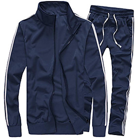 Men's 2-Piece Full Zip Tracksuit Sweatsuit Casual Winter Cotton Thermal Warm Lightweight Breathable Gym Workout Basketball Baseball Running Jogging Sportswear