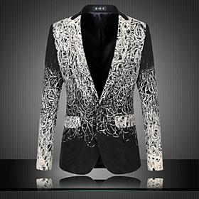 Men's Blazer Regular Party Daily Streetwear Sophisticated Plus Size Spring Fall Print Long Sleeve Black M / L / XL / Slim