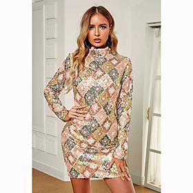 Women's A-Line Dress Short Mini Dress - Long Sleeve Solid Color Sequins Fall Sexy Party Club Slim 2020 Beige S M L XL