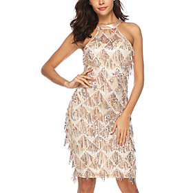 Women's A-Line Dress Knee Length Dress - Sleeveless Solid Color Backless Sequins Embroidered Summer Sexy Party Going out Loose 2020 Gold S M L XL XXL
