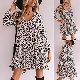 Women's A-Line Dress Short Mini Dress - Long Sleeve Leopard Ruffle Fall V Neck Casual Slim 2020 White S M L XL XXL 3XL