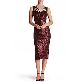 Women's A-Line Dress Knee Length Dress - Sleeveless Solid Color Backless Sequins Embroidered Summer Strapless Sexy Party Club 2020 Black Blue Wine S M L XL XXL