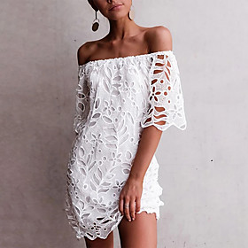 Women's A-Line Dress Knee Length Dress - Sleeveless Solid Color Lace Embroidered Summer Off Shoulder Sexy Slim 2020 White Black Wine Dark Blue S M L XL