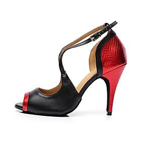 Women's Latin Shoes Heel Slim High Heel PU Leather Buckle Splicing Black / Red