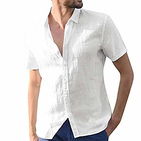 Men's Vacation Shirt Solid Color Long Sleeve Tops White Black Blue / Fall