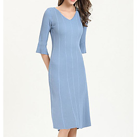 Women's A-Line Dress Knee Length Dress - 3/4 Length Sleeve Solid Color Patchwork Spring V Neck Work Flare Cuff Sleeve Slim 2020 Blue Blushing Pink Beige One-Si