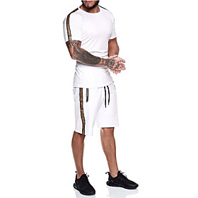 Men's 2-Piece Tracksuit Jogging Suit Short Sleeve 2pcs Breathable Quick Dry Moisture Wicking Fitness Gym Workout Running Active Training Walking Sportswear Run