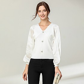 Women's Blouse Shirt Solid Colored Long Sleeve Patchwork Button V Neck Tops Lantern Sleeve Slim Basic Basic Top White Black Beige