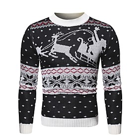Men's Christmas Knitted Geometric Pullover Long Sleeve Sweater Cardigans Crew Neck Fall Winter White Black