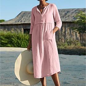 Women's A-Line Dress Midi Dress - 3/4 Length Sleeve Solid Color Pocket Summer Shirt Collar Work Casual Loose Linen Black Blushing Pink Wine Light Blue S M L XL