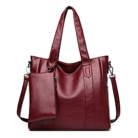 Women's Bags PU Leather / Polyester Top Handle Bag 2 Pieces Purse Set Zipper for Daily / Date Dark Brown / Wine / Black / Purple