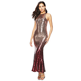 Women's A-Line Dress Maxi long Dress - Sleeveless Solid Color Sequins Tassel Fringe Summer Sexy Party Club Slim 2020 Red S M L XL XXL