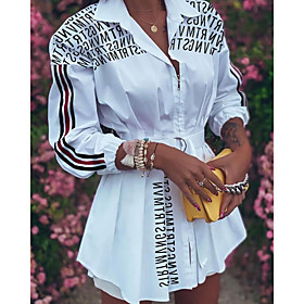 Women's Shirt Dress Short Mini Dress - 3/4 Length Sleeve Letter Print Fall V Neck Work Casual Slim 2020 White Black Red S M L XL XXL
