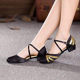 Women's Dance Shoes Modern Shoes / Ballroom Shoes / Line Dance Heel Paillette Thick Heel Customizable Black / Gold / Red / Pink / Black / Performance / Satin /
