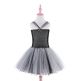 Kids Girls' Basic Color Block Halloween Layered Patchwork Sleeveless Above Knee Dress Gray
