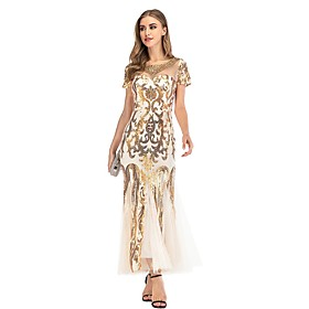 Women's A-Line Dress Maxi long Dress - Short Sleeve Floral Color Block Embroidered Patchwork Summer Sexy Party 2020 Gold S M L XL XXL