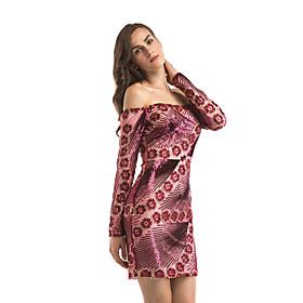 Women's A-Line Dress Short Mini Dress - Long Sleeve Floral Patchwork Print Summer Strapless Sexy Club 2020 Red S M L XL