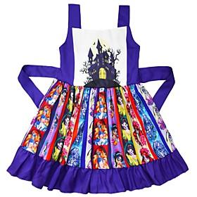 Kids Girls' Basic Color Block Halloween Patchwork Sleeveless Above Knee Dress Purple