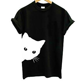 Women's T-shirt Graphic Prints Print Round Neck Tops Slim 100% Cotton Basic Basic Top White Black