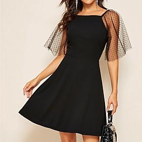 Women's A-Line Dress Knee Length Dress - Short Sleeve Solid Color Mesh Summer Square Neck Casual 2020 Black S M L XL XXL
