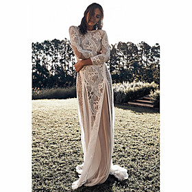 Women's A-Line Dress Maxi long Dress - Long Sleeve Solid Color Lace Backless Patchwork Fall Sexy Party Slim 2020 White M L XL