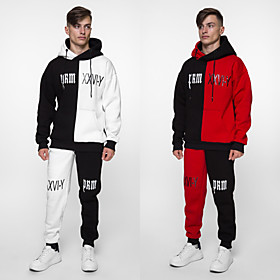 Men's 2-Piece Patchwork Tracksuit Sweatsuit Jogging Suit Casual Long Sleeve 2pcs Breathable Quick Dry Soft Fitness Gym Workout Performance Running Training Spo