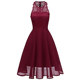 Women's A-Line Dress Knee Length Dress - Sleeveless Solid Color Lace Patchwork Summer Elegant Party Slim 2020 Black Blue Blushing Pink Wine S M L XL XXL