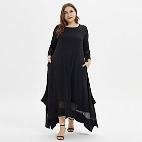Women's Swing Dress Maxi long Dress - 3/4 Length Sleeve Solid Color Summer Casual Holiday Loose 2020 Black XL XXL 3XL 5XL